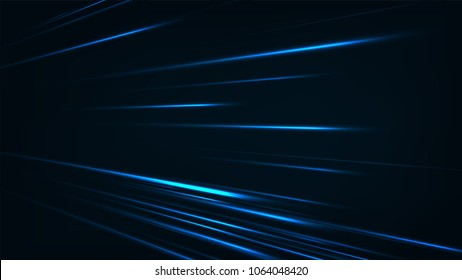 Abstract speed technology concept. with light and stripes motion blur moving fast over dark background.