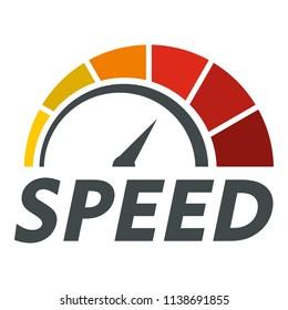 Abstract speedometer logo. Flat illustration of abstract speedometer vector logo for web design