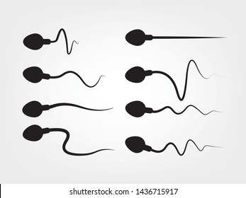 Abstract sperm icon, sperm icon and sperm vector that runs towards the egg. On a white background, competition concept
