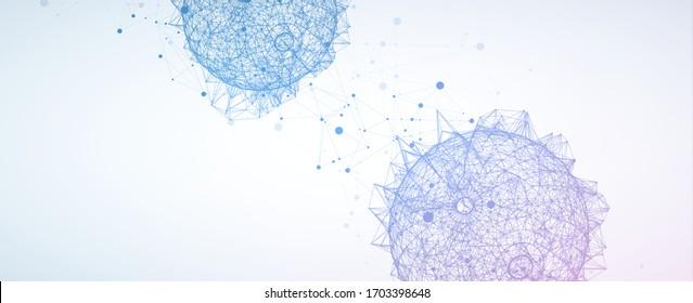 Abstract sphere background with plexus effect. 3D surface.