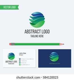 Abstract sphere corporate vector logo and business card template