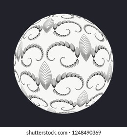 abstract sphere with Edwardian style pattern in black and white