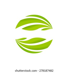 Abstract sphere green leaf logo