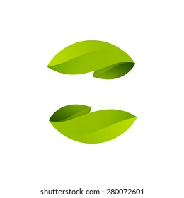 Abstract sphere green leaf logo, volume icon design template element