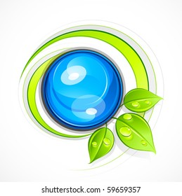 Abstract sphere with leaves. Business logo