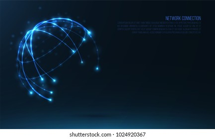 Abstract sphere shape of glowing circles and particles . Global Network connection visualization . Futuristic earth globe . 3d planet background . Science and technology concept art .