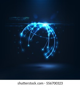 Abstract sphere shape of glowing circles and particles with lens flare effect . Global Network connection visualization . Futuristic earth globe . 3d planet concept  Science and technology background