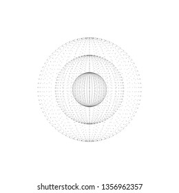 Abstract spheres inside each other. Sphere particles with grey dots. Futuristic style. Vector technology background. Isolated on white.