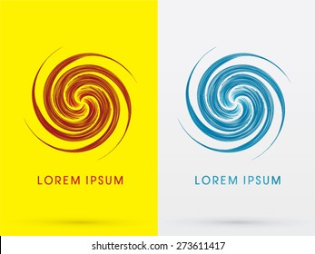 Abstract Spin, design using red and blue line, sign ,logo, symbol, icon, graphic, vector.
