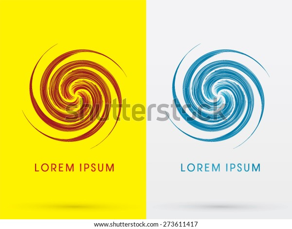 Abstract Spin Design Using Red Blue Stock Vektorgrafik