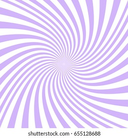 Abstract spiral background from light purple and white curved ray stripes - vector graphic