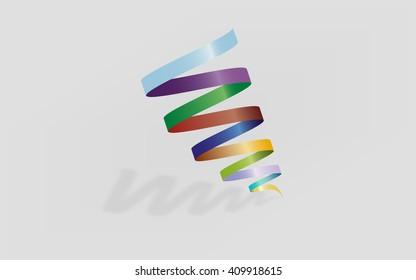 Abstract spiral logo element. Colorful tornado shape. Colorful gradients on spiral with shadow and reflection.