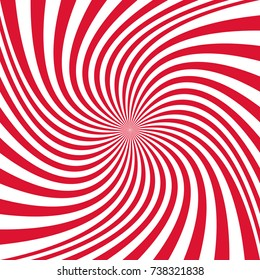 Abstract spiral ray background from thin red rotating ray stripes - vector graphic