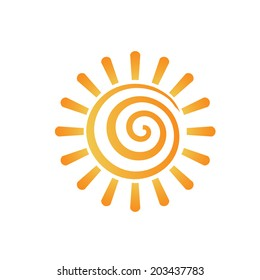 Abstract spiral sun image. Concept of summer, fun, happiness. Vector icon.