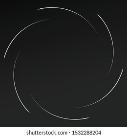 Abstract spiral, twist. Radial swirl, twirl curvy, wavy lines element. Circular, concentric loop pattern. Revolve, whirl design. Whirlwind, whirlpool illustration