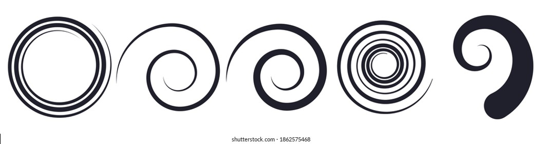 Abstract spiral, twist. Radial swirl, twirl curvy lines element. Circular, concentric loop-hook. Revolved whirl design shape, Whirlwind, whirlpool illustration. Radiating volute, whirligig, curlicue