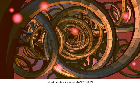 Abstract spiral wire background with technology or sci fi conceptual on red and yellow light mood
