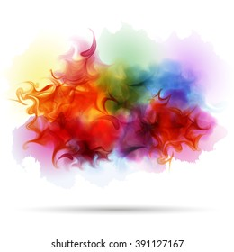 Abstract splash colorful smoke background. Steam, cloud, ink. Realistic texture