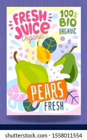 Abstract splash Food label template. Colorful brush stroke. Fruits, spices, vegetables package design. Pear, citrus, tropical. Organic, fresh. Drawing vector illustration