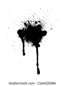 Abstract splatter black color background. Paint dripping vector illustration. Grunge texture.