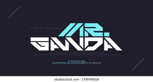 Abstract sport modern alphabet fonts. Typography technology electronic dance digital music future creative font. vector illustration