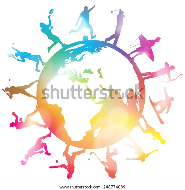 Abstract Sporting Silhouettes around a Colourful Globe. Great Abstract illustration of various Sporting Athletes around a Globe in silhouette.