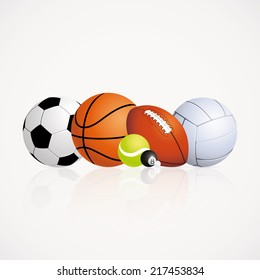 abstract sports balls on a white background