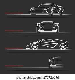 Abstract sports car background. Collection of four car views. Vector illustration.