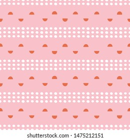 Abstract spots and semi circles geometric seamless pattern in pink, orange and white. Modern vector repeat design.