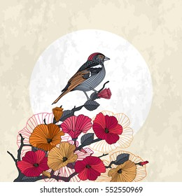 Abstract spring cherry blossoms branch card with bird on light background. Red, pink, orange flowers, the sun and the background with grunge texture, vector illustration