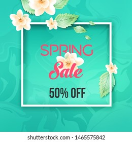 Abstract spring sale offer banner design with frame, beauty background and autumn leaves