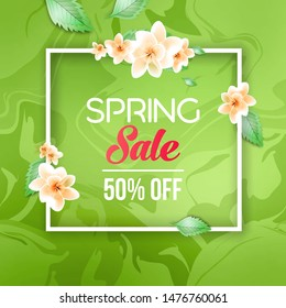 Abstract spring sale offer banner design with frame, beauty background, flowers and leaves