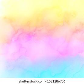 Abstract square cute color art design, print, poster, aquarelle blur illustration. Rainbow bright watercolor hand drawn aqua liquid card, background. Colorful vivid paper texture wallpaper