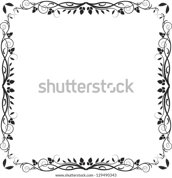 abstract square frame with floral elements