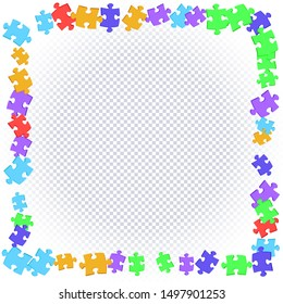 Abstract square frame of scattered colored puzzles on transparent background. Vector illustration