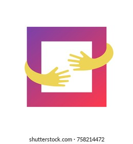 Abstract square and hands vector logo template