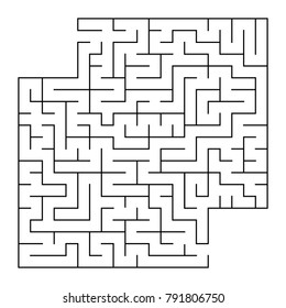 Abstract square isolated maze. Black color. An interesting and useful game for children and adults. Simple flat vector illustration. With a place for your image