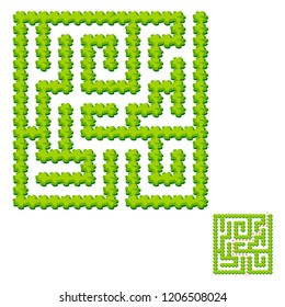 Abstract square labyrinth - green garden. Game for kids. Puzzle for children. One entrance, one exit. Labyrinth conundrum. Vector illustration. With answer.
