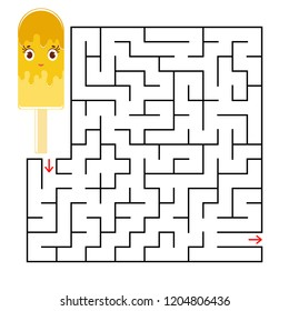 Abstract square maze with a cute color cartoon character. Funny ice cream. An interesting and useful game for children. Simple flat vector illustration isolated on white background