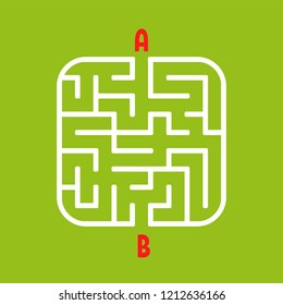 Abstract square maze. Easy level of difficulty. Game for kids. Puzzle for children. One entrances, one exit. Labyrinth conundrum. Flat vector illustration isolated on white background.