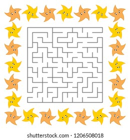Abstract square maze. Game for kids. Puzzle for children. Cute cartoon star. Labyrinth conundrum. Vector illustration.