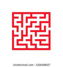 Abstract square maze. Game for kids. Puzzle for children. One entrance, one exit. Labyrinth conundrum. Flat vector illustration isolated on white background.