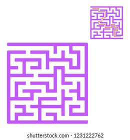 Abstract square maze. Game for kids. Puzzle for children. One entrance, one exit. Labyrinth conundrum. Flat vector illustration isolated on white background. With answer.