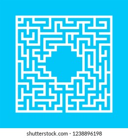 Abstract square maze. Game for kids. Puzzle for children. One entrance, one exit. Labyrinth conundrum. Flat vector illustration isolated on color background