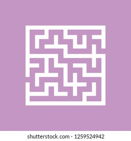 Abstract square maze. Game for kids. Puzzle for children. One entrance, one exit. Labyrinth conundrum. Flat vector illustration isolated on color background.