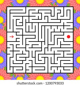 Abstract square maze. An interesting and useful game for children. Find the path from arrow to heart. Simple flat vector illustration isolated on white background