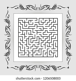 Abstract square maze in vintage frame. Game for kids. Puzzle for children. One entrances, one exit. Labyrinth conundrum. Flat vector illustration.
