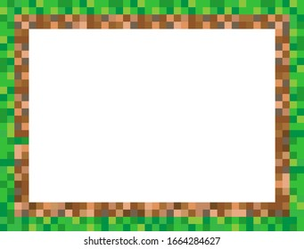 Abstract square pixel mosaic background illustration. Grass and ground wallpaper. Vector. Border. Frame.
