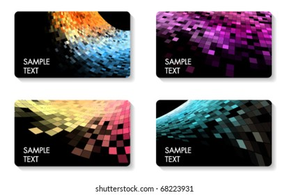 abstract square pixel mosaic business cards set