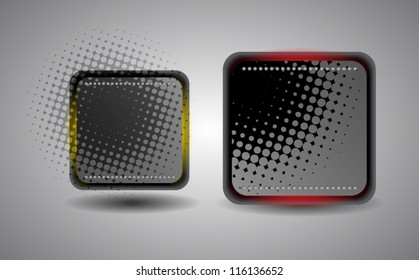 abstract square steel button with halftone effect